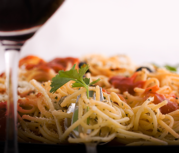 Pasta with wine glass