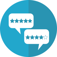 Circle icon with reviews
